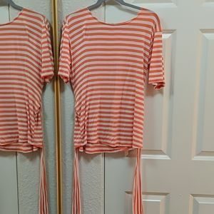 Les Amis Orange and White Stripe Top